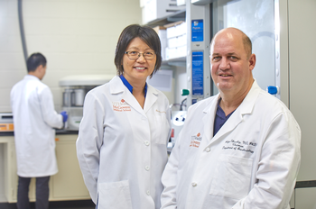 Photo of UTHealth's Holger Eltzschig, MD, PhD, and Cynthia Ju, PhD (Photo by Terry Vine)