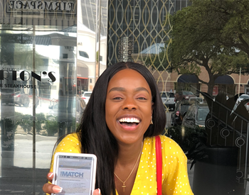 McGovern Medical School fourth-year student Sandra Coker opened her Match Day email to find out where she'd take the next step on her journey to become a physician. (Photo credit: Sandra Coker)