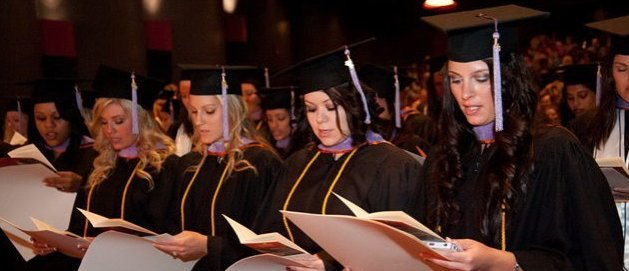 healthcare professionals at a commencement ceremony